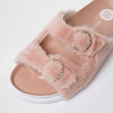 River Island Pink fluffy strap sandals