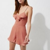 RIVER ISLAND Pink frill tie back cami playsuit
