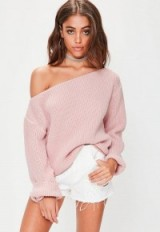 Missguided pink off shoulder knitted jumper ~ slouchy jumpers ~ chunky sweaters
