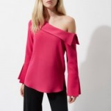 River Island Pink one shoulder flared long sleeve top