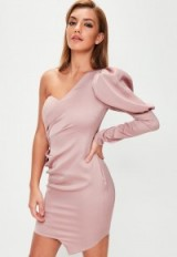 MISSGUIDED pink puff sleeve one shoulder mini dress