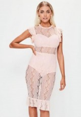 missguided pink short sleeve lace midi dress ~ sheer dresses