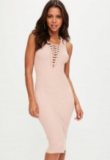 missguided pink sleeveless plunge lace up ribbed dress