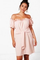 boohoo Plus Lucie Off The Shoulder Tie Waist Shift Dress ~ blush pink curvy bardot dresses