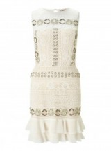 MISS SELFRIDGE PREMIUM Embellished Lace Frill Mini Dress