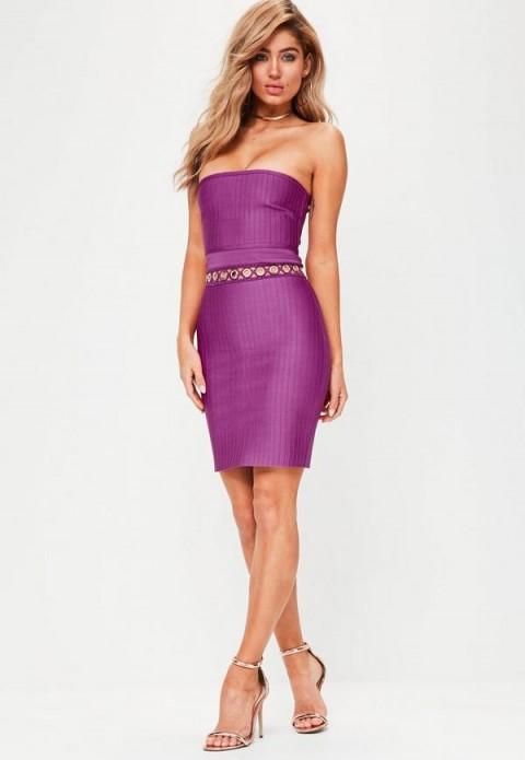 MISSGUIDED premium purple bandage eyelet detail dress