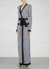 BALMAIN Prince of Wales houndstooth maxi cardigan | long luxe cardigans | statement knitwear