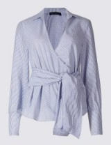 M&S COLLECTION Pure Cotton Striped Wrap Poplin Blouse / Marks and Spencer blouses