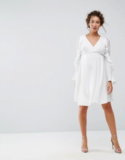Queen Bee Maternity Ruffle Sleeve Dress With Lace ~ white pregnancy occasion dresses - flipped