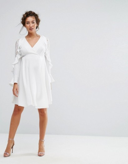 Queen Bee Maternity Ruffle Sleeve Dress With Lace ~ white pregnancy occasion dresses