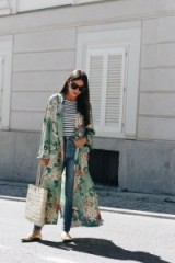 lift a plain outfit with a long floral kimono