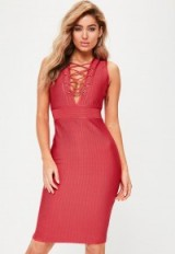 Missguided red premium bandage lace up dress