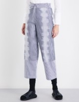 ROBERTS WOOD Straight high-rise dig-print cotton-blend trousers