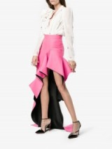Ronald Van Der Kemp High Waisted Ruffle Asymmetric Skirt