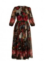 DOLCE & GABBANA Rose and puppy-print silk-chiffon dress