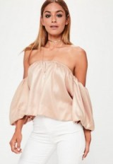 Missguided rose gold balloon sleeve bardot top ~ pink hue off the shoulder tops