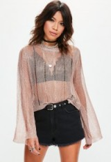 Missguided rose gold distressed flared sleeve metallic knitted jumper ~ sheer pink hue jumpers ~ see-through tops