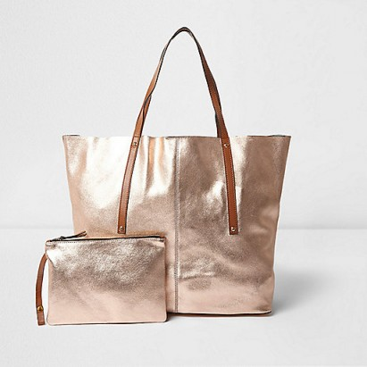 River Island Rose Gold Metallic Leather Tote Bag Luxe Beach Bags Summer Accessories