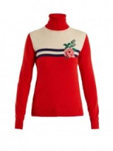 GUCCI Rose-intarsia wool-blend knit sweater | red polo neck sweaters | knitwear