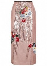ERDEM Sacha pink sequined midi skirt