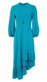 TIBI SAVANNA CREPE RUFFLE DRESS