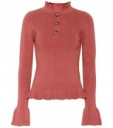 SEE BY CHLOÉ Cotton blend ruffle trimmed sweater | rose-pink high neck sweaters | knitwear