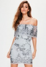 MISSGUIDED silver sequin bardot dress
