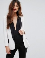 Sisley Longline Tuxedo Jacket With Contrast Colour Details ~ off white tux jackets