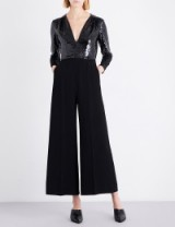 STELLA MCCARTNEY Rosie sequin and silk jumpsuit   black embellished wide leg jumpsuits