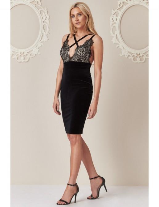 Stephanie Pratt Cross-Over Velvet Lace Midi Dress Black