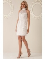 Stephanie Pratt Halter Neck Embellished Mini Dress Cream