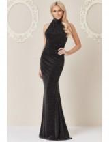 Stephanie Pratt Halter Neck Glitter Maxi Dress Black