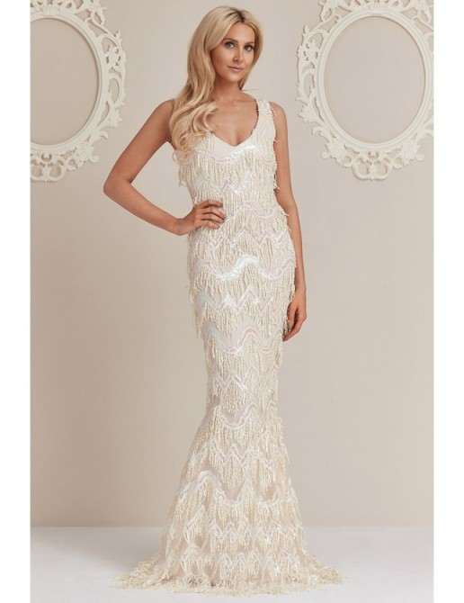 Stephanie Pratt Sequin Flapper Maxi Dress – Cream