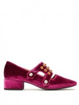 TOGA Stud-embellished velvet mid-heel loafers