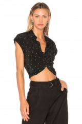 T by Alexander Wang COLLARED KNOT FRONT SHIRT | knotted shirts