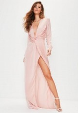 Missguided tall pink satin wrap maxi dress ~ plunge front evening dresses