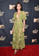 Zendaya sheer green dress at the 2017 MTV Music and TV Awards