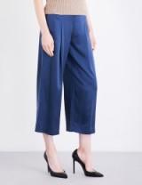 THEORY Zavabell wide-leg silk-satin trousers   blue silky crop leg pants
