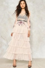 NASTY GAL Tier It Up Ruffle Maxi Dress ~ long sheer ruffled dresses
