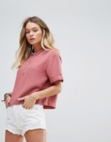 Tommy Hilfiger Denim Cropped Polo T-shirt with Zip ~ pink tops