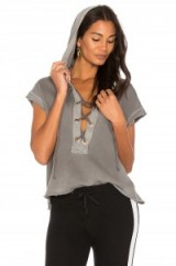 TYLER JACOBS STANFORD LACE UP HOODY | grey hoodies | sports luxe