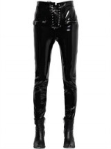 UNRAVEL LACE-UP FAUX PATENT LEATHER PANTS   black shiny skinny trousers