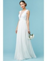GODDIVA V Neckline Chiffon Maxi Wedding Dress White – affordable bridal dresses