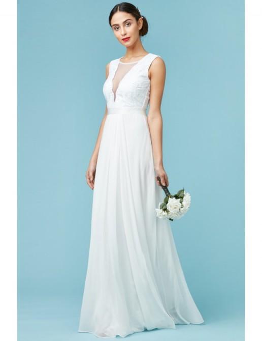 GODDIVA V Neckline Chiffon Maxi Wedding Dress White – affordable bridal dresses