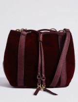 M&S COLLECTION Velvet Drawstring Duffle Bag / Marks and Spencer handbags / burgundy bags