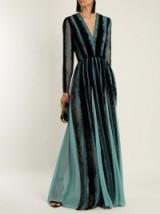 ELIE SAAB V-neck velvet-devoré gown