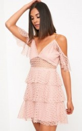 Pretty Little Thing DUSTY PINK LACE COLD SHOULDER SHIFT DRESS