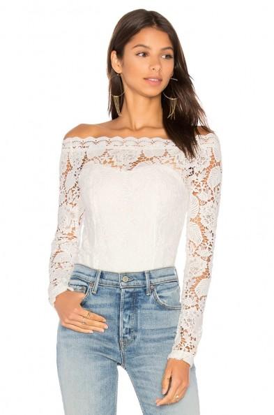AIRLIE PIXIE BODYSUIT ~ white bardot lace bodysuits