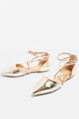 ALBANY Cross Strap Pointed Sandals | gold pointy flats | strappy metallic flat shoes | Topshop footwear