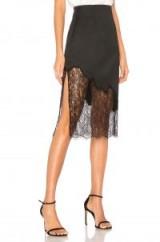 Alice + Olivia EVANA SKIRT – black semi sheer skirts